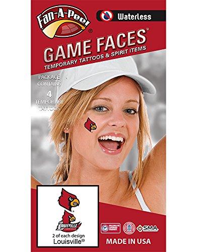 - Fan A peel NCAA Louisville Cardinals 4-Pack Temporary Tattoos