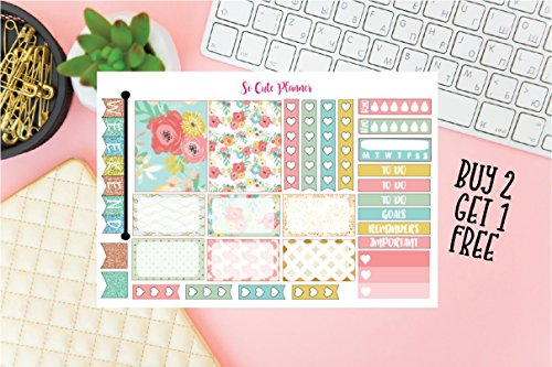 Spring Flowers Kit Sample Sheet Planner stickers, Full Box Half Box Checklist Flag Reminders To Do Functional Erin Condren stickers (Spring Checklist)