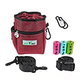 PET N PET Dog Treat Training Pouch Easily Carries Pet Toys, Kibble, Treats with Built-In Poop Bag Dispenser with Poop Bags 3 Ways to Wear Red Color