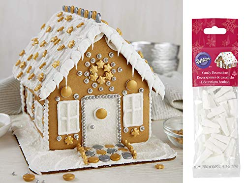 Gingerbread House Kit - Wilton Christmas Pre-Assembled House, Includes: House, Icing, Fondant, Candies, Decorating Bag & Tip - Bundled With Extra Candy!
