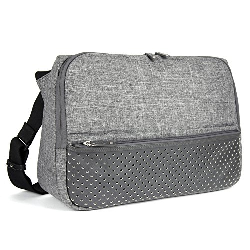 FINEDAYS Triangle Commuter Bag by BZLStudio; Up to 15 inch Laptop Messenger Bag (Light Grey)