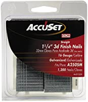 AccuSet A401259 1-1/4-Inch by 16 Gauge Finish Nail (1,200 per Box)