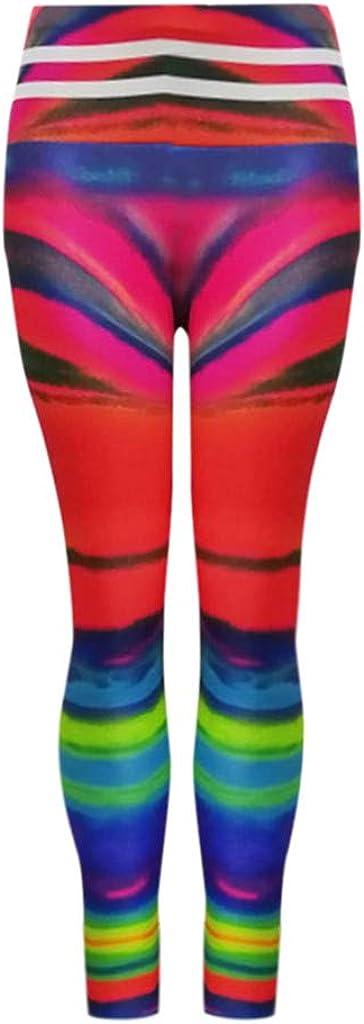 EDC 2019 Summer Womens Multicolor Rainbow Printed Pants Tummy Control High Waist Skinny Booty Yoga Jogger Leggings