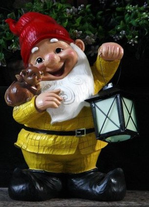 Wonderland Gnome Holding Rhodium Glow Lamp ( Garden Gnome , Garden  Decoration, Night Lighting )