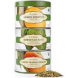 Tea Forte LOOSE LEAF TEA TRIO, 3 Small Tea Tins, Green Tea Sampler - Lemon Sorbetti, Moroccan Mint, Green Mango Peach
