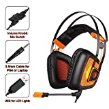 GW SADES SA809 PS4 PlayStation 4 Stereo Gaming Headset Headphones, Over Ear with Mic Volume Control LED Light for Xbox One/PC/Mac/Smartphone/Laptop/Computer(Black&Orange)