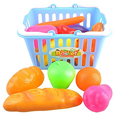 Kids Pretend Play Grocery Shopping Play Toy Fruit,Vegetable,snack food with Shopping Basket AB96231