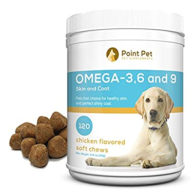 Best Omega 3 6 9 Fish Oil for Dogs - Supports Healthy Skin, Coat, Joints, Heart and Brain - Fatty Acids Dog Supplements - Boost Immunity - 120 Tasty & Easy to Use Chewables Your Dog will Adore