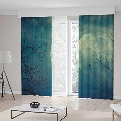 TecBillion Bedroom Blackout Curtains,Horror House Decor,Living Room Bedroom Décor,Halloween with Full Moon in Sky and Dead Tree Branches Evil Haunted Forest,103Wx83L Inches]()