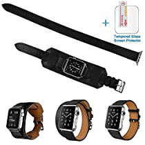 3 in 1 Apple Watch Leather Cuff Band,Eoso [Bracelet/Single/Double] Leather Loop Band for Apple Watch,Sport,Edition Models(Band Cuff Black,38mm)
