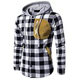 Yang-Yi Hot Sales Men Autumn Winter Long Sleeved Plaid Hooded Shirt Top Pullover Blouse (Black, S)