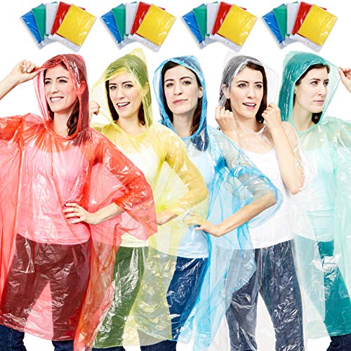 Juvale 20 Count Adults Rain Ponchos with Hood - Emergency Disposable Poncho, 5 Assorted Colors Pink, Blue, Green, Yellow, Clear, Individually Wrapped ()