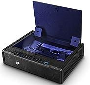 Biometric Gun Safe for Pistols, Quick Access Handgun Safe for Home, Fingerprint Hand Gun Safe Firearm Case Box