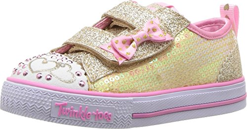 Skechers Twinkle Toes Shuffles Itsy Bitsy Girls Light Up Sneakers Gold/Pink 11