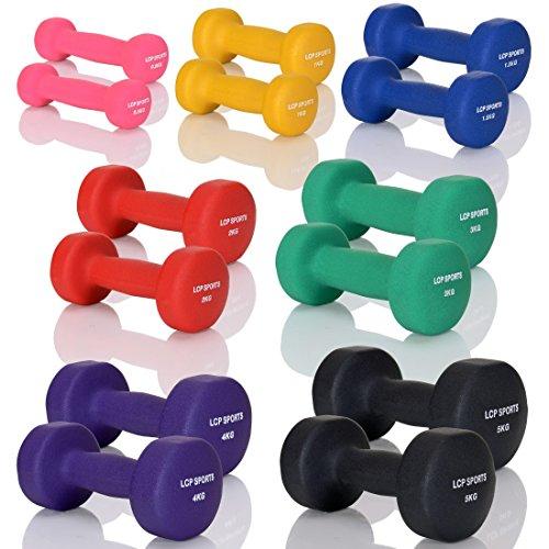 LCP Neopren Kurzhanteln Gymnastik Gummi Gewichte Soft Grip Set in 10 Gewichtsstufen: 2 x 4 kg