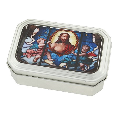 ''Symbols of Faith'' Tin Rosary Box with Multi-Color Stained Glass Decal by Symbols of Faith