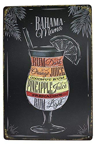 A smiling eye Bahama Mama Rum Orange Pineapple Juice, Drink Meatl Sign Aluminum Metal Tin Sign, Vintage Plaque Pub Bar Dining Room Home Wall Decor