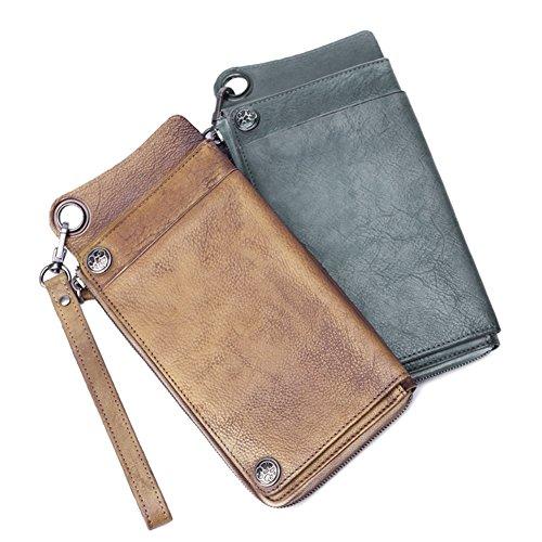 Genuine Zipper Grey Men for Slim Card Money Wallet Around Bifold Leather Holder Wallet awIxCqS
