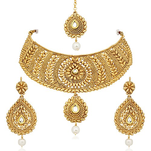 [MEENAZ Women's Gold Plated Choker Necklace with Drop Earring and Mangtika] (Bollywood Costumes For Men)