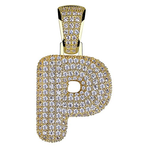 HECHUANG Micropave Simulated Diamond Iced Out Bling Custom Bubble Letters Pendant with Rope Chain (P Gold, 24) (Diamond Bracelets Custom)