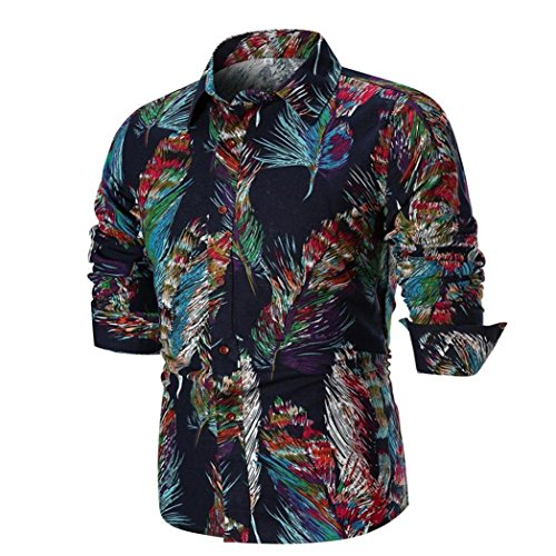 Sunhusing Men's Casual Slim Personality Print Long Sleeve Shirt Top Blouse