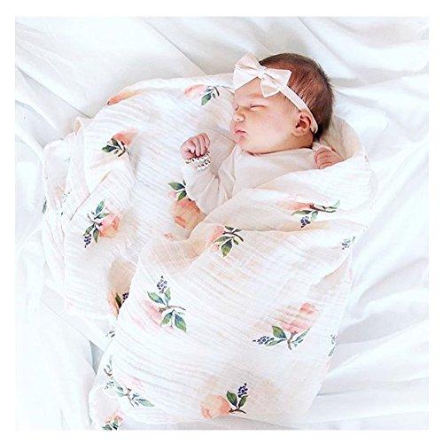 Infants Muslin Swaddle Blanket Nursery Toddler Newboren Sheet Soft Organic Bamboo Cotton Receiving Blankets Baby Shower Gift 47 x 47 Inch (Rose)