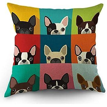 Moslion Dog Pillows Decorative Throw Pillow Cover Boston Terrier Cute Fun Cartoon Pets Dogs Head Face Frame Pillow Case 18x18 Inch Cotton Linen Square Cushion Cover for Sofa Bed Multicolor