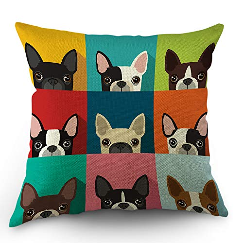 - Moslion Dog Pillows Decorative Throw Pillow Cover Boston Terrier Cute Fun Cartoon Pets Dogs Head Face Frame Pillow Case 18x18 Inch Cotton Linen Square Cushion Cover for Sofa Bed Multicolor