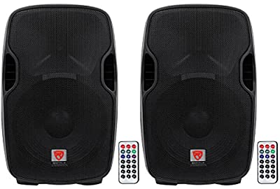 """(2) Rockville BPA15 15"""" Active DJ/PA Speakers Totaling 1600 Watt With Built In Bluetooth, Remote, SD/USB Reader and Built With High Quality Materials by Rockville"""