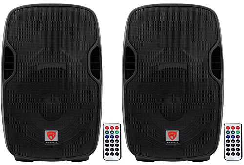 (2) Rockville BPA15 15'' Active DJ/PA Speakers Totaling 1600 Watt With Built In Bluetooth, Remote, SD/USB Reader and Built With Materials by Rockville