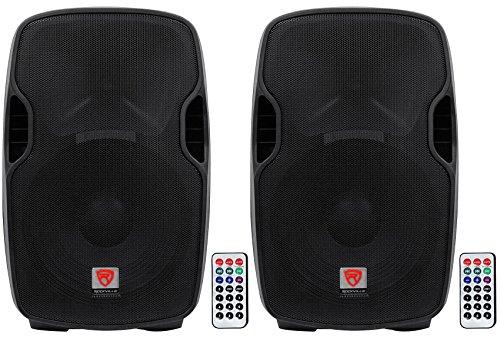 (2) Rockville BPA15 15 Professional Powered 800 Watt DJ PA Speakers w Bluetooth