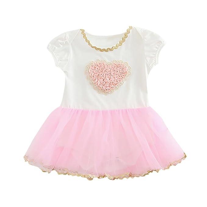 Niña bebé vestido,Sonnena rosa vestido de floral impresión tops de manga corto camiseta +