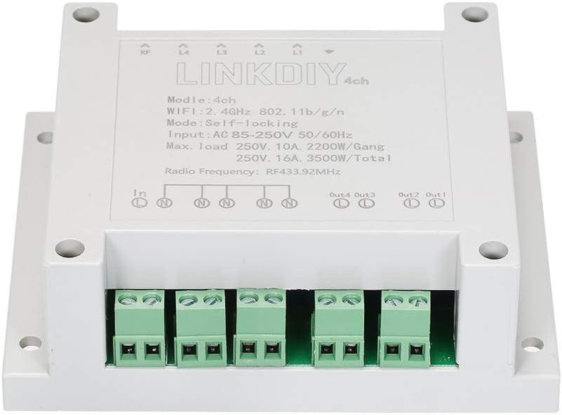 eWeLink 4CH AC85-250V RF 433MHz 4 Gang WiFi Switch 3 Modos de Trabajo Inching//Self-Locking//Interlock WiFi Smart Switch Compatible con  Alexa y para Google Home//Nest Smart Home