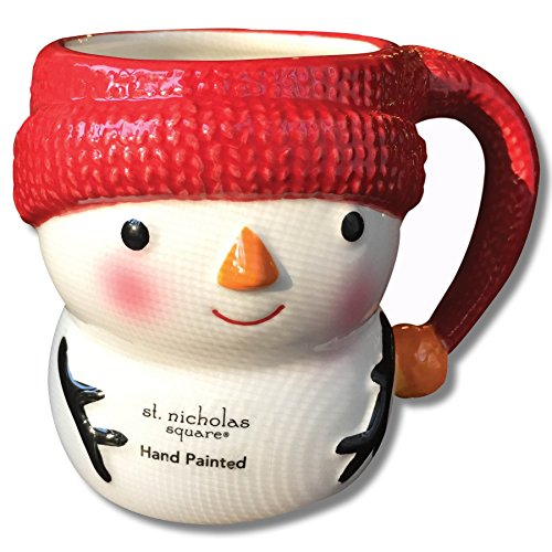 North Pole Hand Painted Ceramic Snowman Mug
