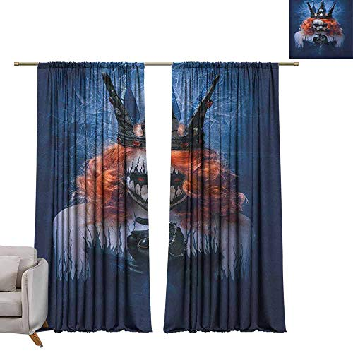 berrly Shades Window Treatment Valances Curtains Queen,Queen of Death Scary Body Art Halloween Evil Face Bizarre Make Up Zombie, Navy Blue Orange Black W72 x L96 Thermal Insulated Blackout Curtains