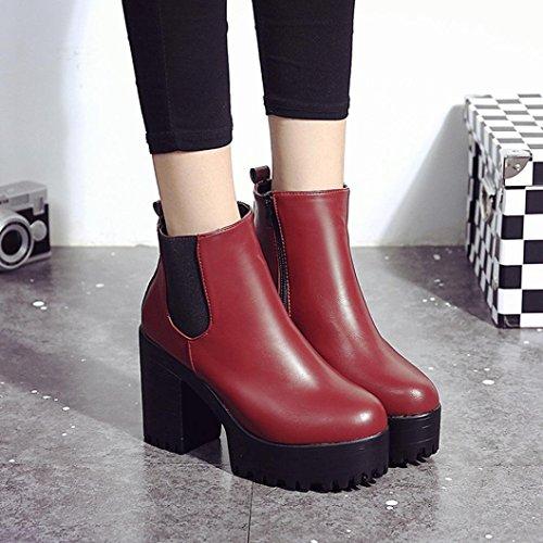 Martin Schuhe Stiefel Jamicy® Frauen Stiefel Kunststoff Platz Ferse Plattformen Leder Oberschenkel Hohe Pumpe Stiefel Schuhe Rot