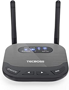 TECBOSS Bluetooth 5.0 Transmitter Receiver for TV, Optical Digital and 3.5mm Wireless Audio Adapter for PC, Home Stereo System, aptX HD, aptX Low Latency- KM20