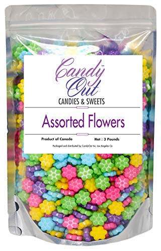 CandyOut Assorted Flowers Candy 3 Pound Assorted Colors Bloomin Flowers Candy in Stand Up Bag