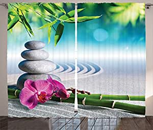 Amazon Com Ambesonne Spa Decor Curtains By Sand Orchid