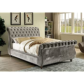 HOMES: Inside + Out IDF-7128GY-Q Maemie Contemporary Bed, Queen, Gray