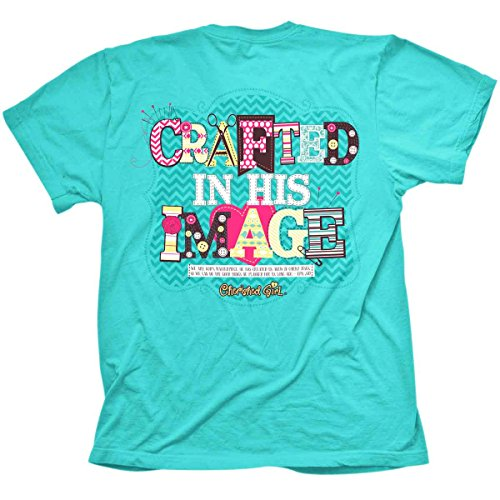 Crafted in His Image (Cherished Girl), Tee, LG, Teal - Christian Fashion Gifts