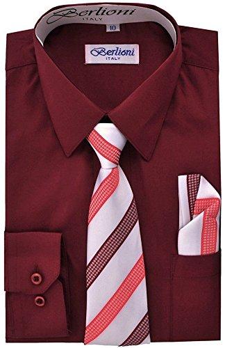 Berlioni Boys Italian Long Sleeve Dress Shirt with Tie & Hanky-BURGUNDY-14 by Berlioni