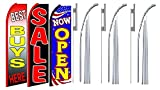 Best buys here sale Now Open King Swooper Feather Flag Sign Kit With Pole and Ground Spike- Pack of 3