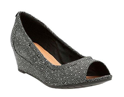CLARKS Women's Vendra Daisy Dress Pump, Black Interest Nubuck, 8 M (Clarks Peep Toe Shoes)