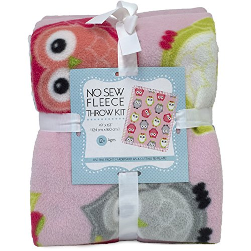 Owls No-Sew Throw Anti-Pill Fleece Fabric Kit (Fleece Fabric Throw Blanket)