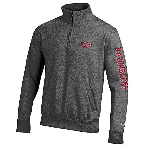 Elite Fan Shop Arkansas Razorbacks Quarter Zip Sweatshirt Letterman Charcoal - Medium