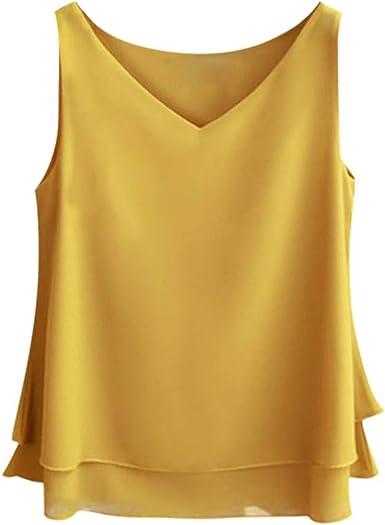 Luckycat Blusas y Camisa de Gasa Mujer Primavera Elegante Color SóLido Cuello en V Estampado Sexy Moda Tallas Grandes Blusa Top Camisetas con Volantes Dobladillo Fiesta Blazer Camisa de Fondo: Amazon.es: Ropa