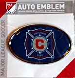 Chicago Fire Metal Domed Oval Color Chrome Auto Emblem Decal MLS Soccer Football Club