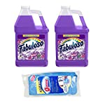Makes 64 Gallons Lavender Purple Liquid Multi-Purpose Professional Household Non Toxic Fabolous Hardwood Floor Cleaner Refill + 4 UBEN Microfiber 12 X 12 Cleaning Cloths -Colors May Vary