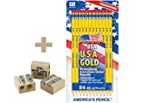 BACK TO SCHOOL VALUE PACK USA Gold Series #2 Pencils, Cedar, Yellow, 24/Pk PRE SHARPENED + 1 KUM Wood Cutter 2-Hole Pencil Sharpener